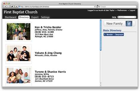 Feature Tour - Courtyard: Online Church Directory Software