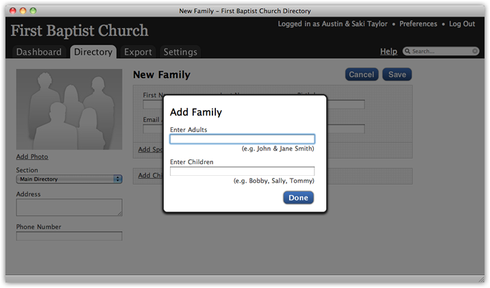 New_family_screen